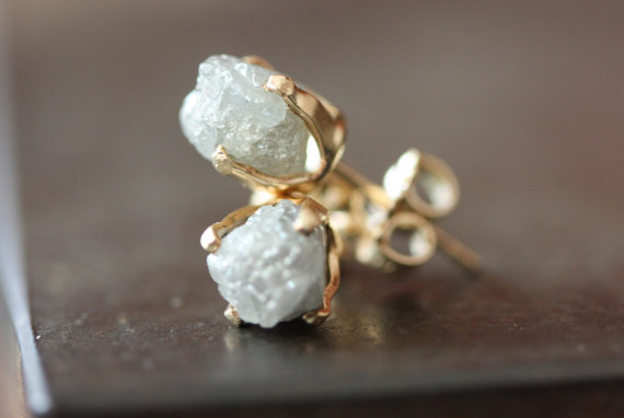 rough diamond stud earrings by lexluxe
