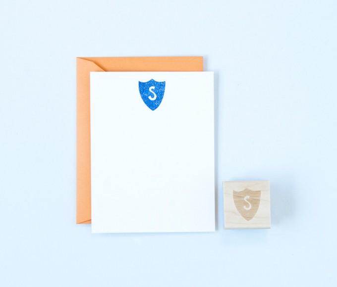 shield monogram stamp