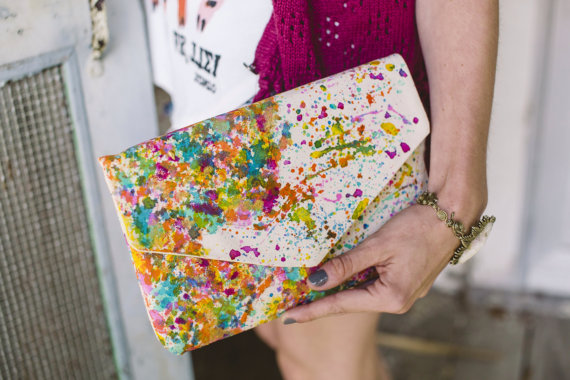 splatter map purse | travel themed wedding ideas: http://emmalinebride.com/themes/travel-theme-wedding-ideas/