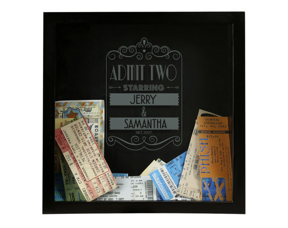 ticket shadow box by cheaphumidors | 75 Best Valentine's Gifts They'll Actually Want | http://emmalinebride.com/gifts/unique-valentines-day-gifts/