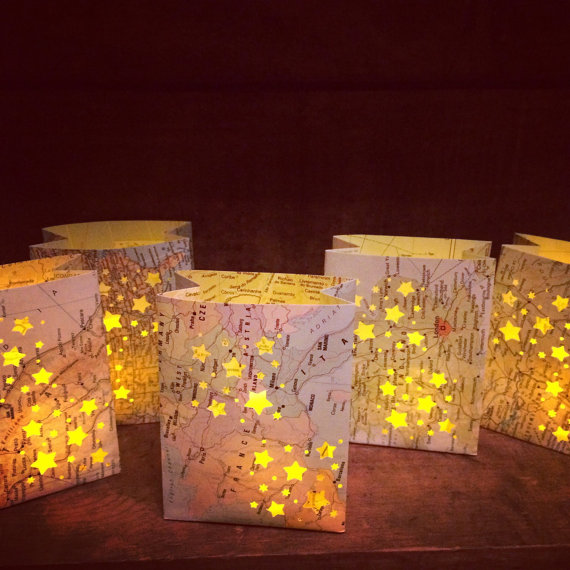 travel map luminaries by oldendesigns | travel themed wedding ideas: http://emmalinebride.com/themes/travel-theme-wedding-ideas/