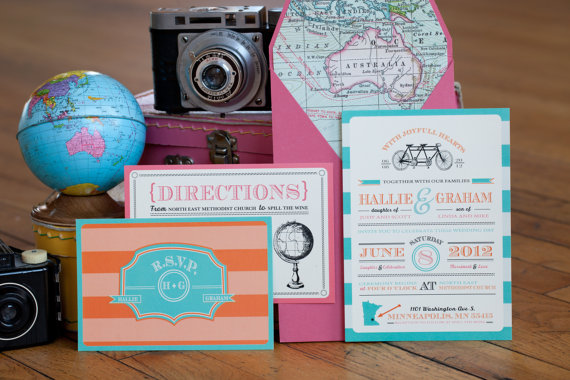 travel theme wedding invite by wideeyespaperco | travel themed wedding ideas: http://emmalinebride.com/themes/travel-theme-wedding-ideas/