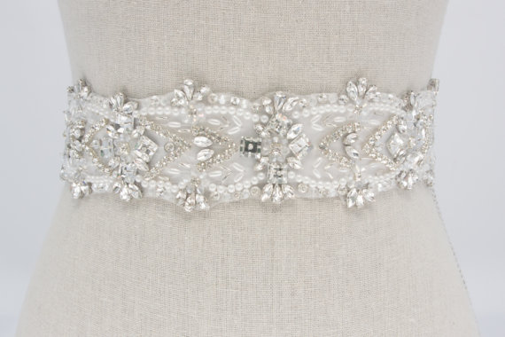 white crystal sash