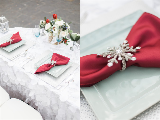 winterwonderlandweddingtablesettingredsnowflakes