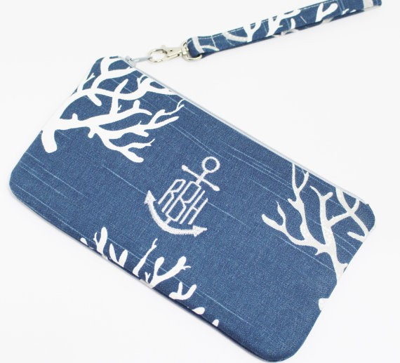 anchor monogram clutch