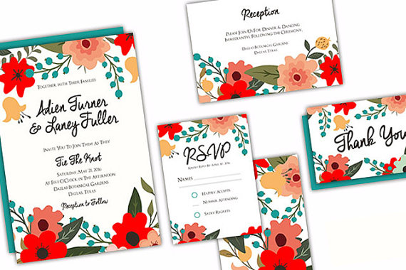 aqua floral wedding invitation suite