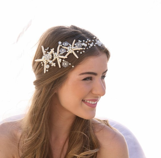 beach wedding hair accessory by besomethingnew | via 50+ nautical wedding theme ideas at EmmalineBride.com