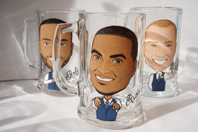 painted groomsmen beer mugs