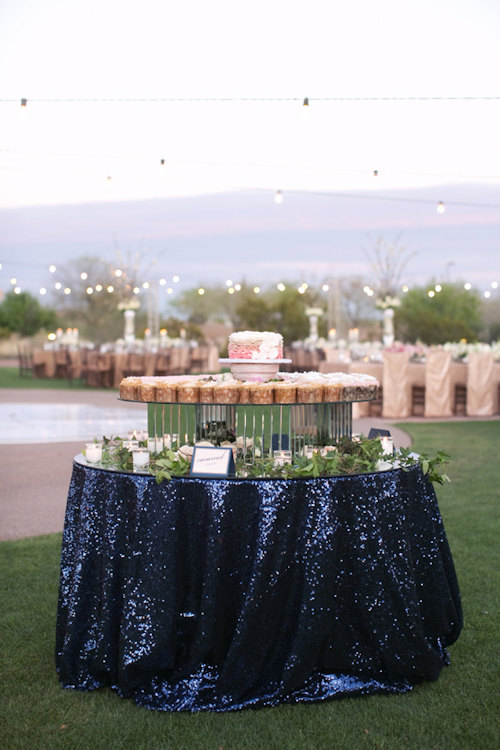 sequin tablecloth | via 50+ nautical wedding theme ideas at EmmalineBride.com