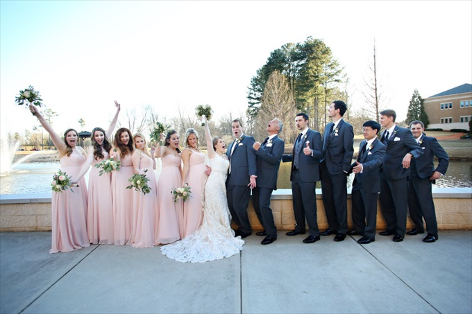 bridal party wedding | Sarah + JJ's Pretty Wedding at 173 Carlyle House | https://www.emmalinebride.com/real-weddings/pretty-wedding-173-carlyle-house/ | photo: Melissa Prosser Photography - Atlanta Georgia Wedding Photographer