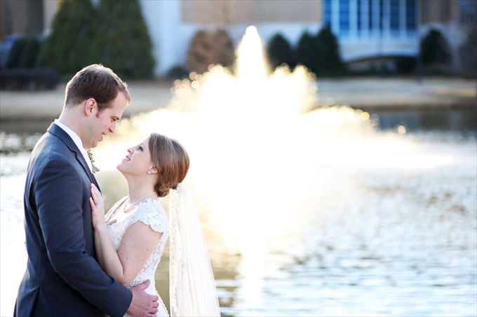 bride groom in front of fountain | Sarah + JJ's Pretty Wedding at 173 Carlyle House | https://www.emmalinebride.com/real-weddings/pretty-wedding-173-carlyle-house/ | photo: Melissa Prosser Photography - Atlanta Georgia Wedding Photographer