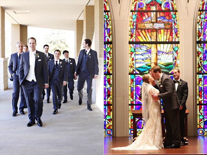 bride groom married church stain glass | Sarah + JJ's Pretty Wedding at 173 Carlyle House | https://www.emmalinebride.com/real-weddings/pretty-wedding-173-carlyle-house/ | photo: Melissa Prosser Photography - Atlanta Georgia Wedding Photographer