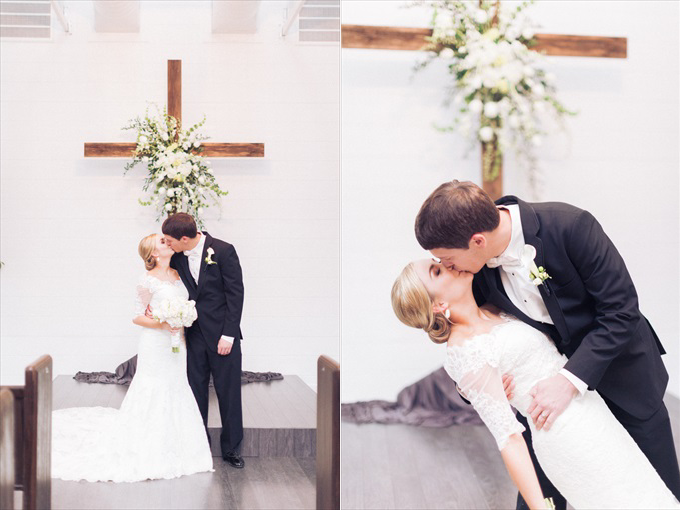 bride groom married kissing church | A Beautiful Sainte Terre Louisiana Wedding(Real Weddings) | http://www.emmalinebride.com/real-weddings/a-beautiful-sainte-terre-wedding-in-louisiana-real-weddings/ | Photo: Photography by Micahla Wilson