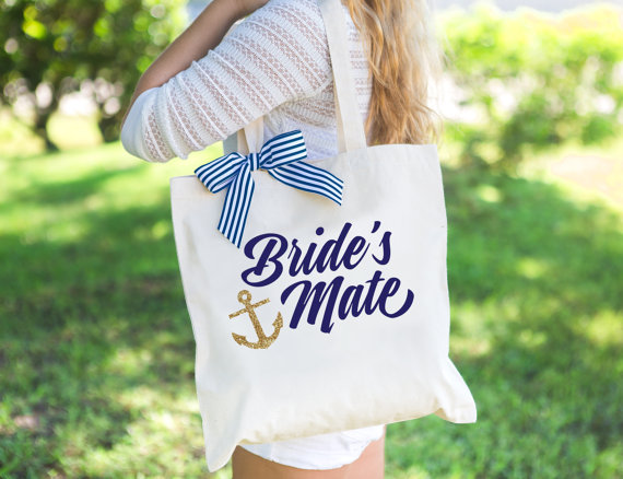 brides mate tote bag by zcreatedesign | via 50+ nautical wedding theme ideas at EmmalineBride.com