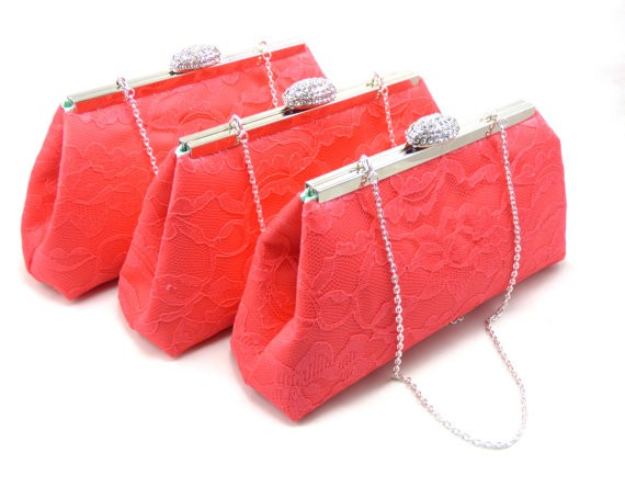 calypso coral bridesmaid clutches