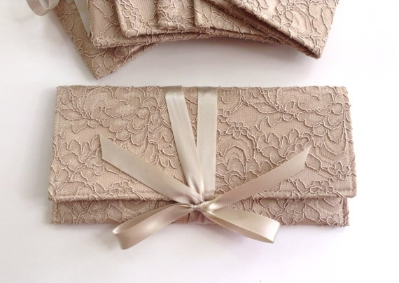 champagne lace bridesmaid clutch