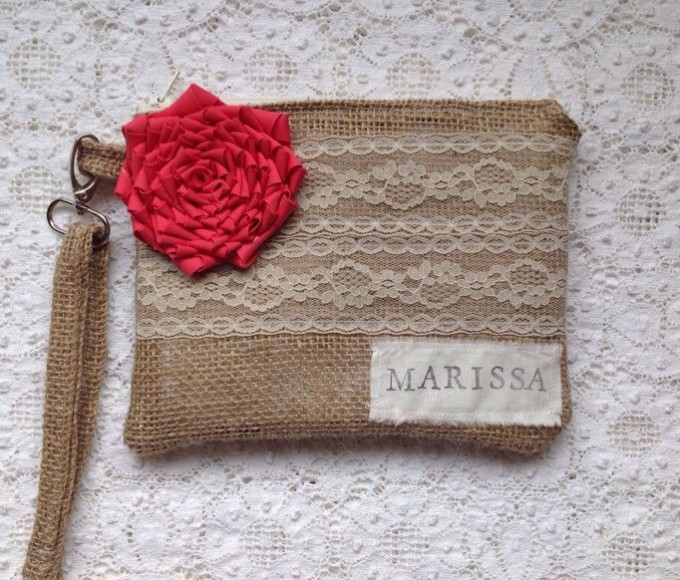 coral personalized wristlet made with burlap