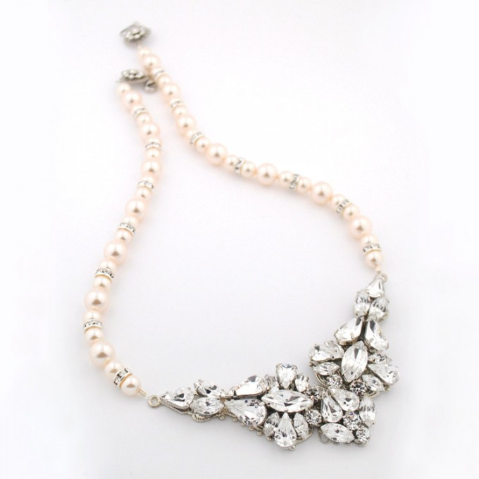 crystal bridal jewelry with pearls