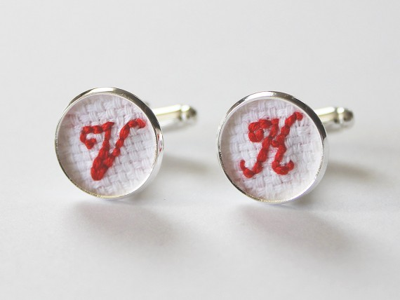 Initial necklaces for bridesmaids, initial cuff links for groomsmen | by Aristocrafts | http://emmalinebride.com/gifts/initial-necklaces-for-bridesmaids/