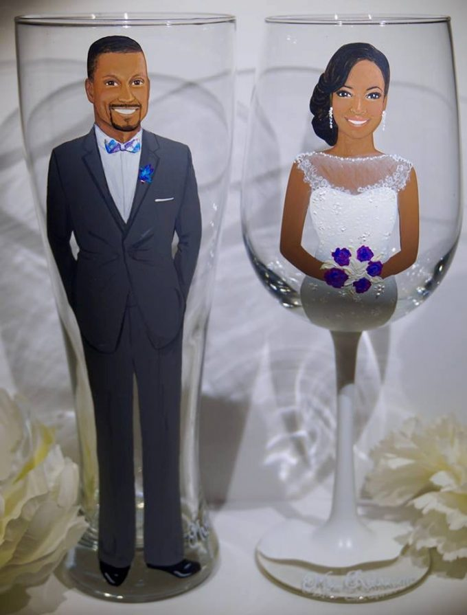 painted bridesmaid glasses and bridal party glassware