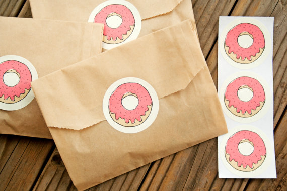 donut stickers - edible wedding favors