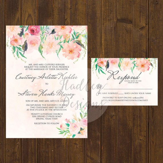 floral watercolor wedding invitation design