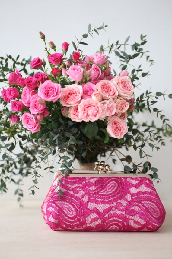 fuchsia alencon lace clutch purse by angeew | bridesmaid clutches instead of flowers via https://emmalinebride.com/bridesmaid/clutches-instead-of-flowers/