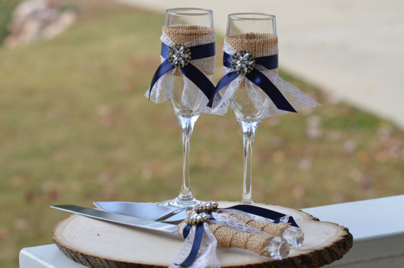 glasses and cake server set by RedHeartCreations | via 50+ nautical wedding theme ideas at EmmalineBride.com