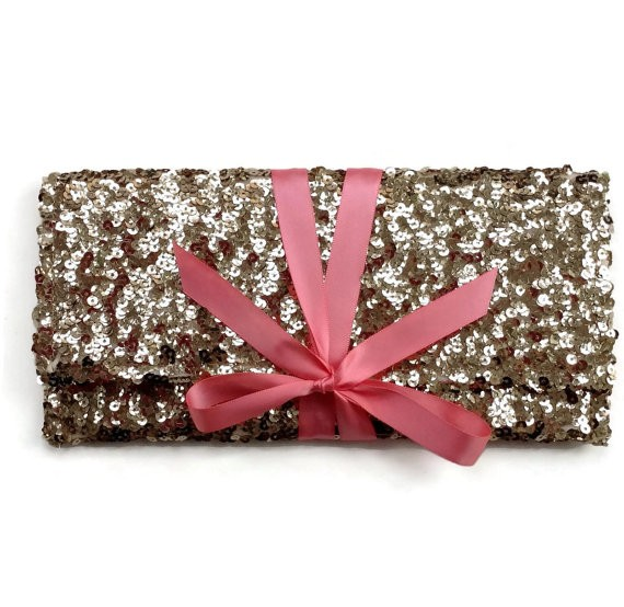 gold sequin clutch purse with ribbon by ao3designs