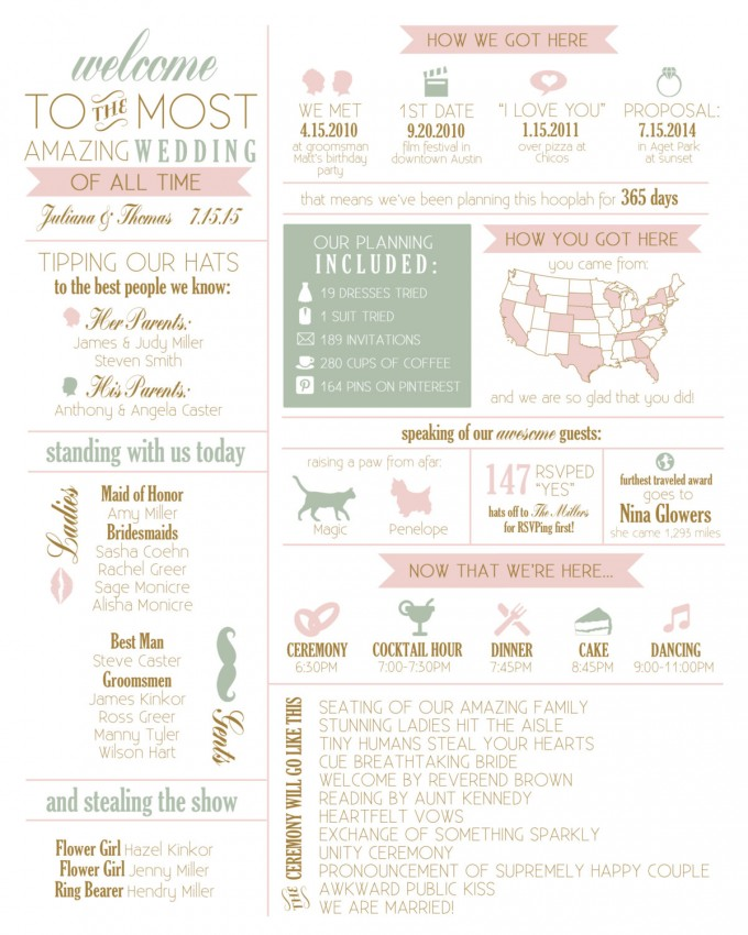 infographic wedding program