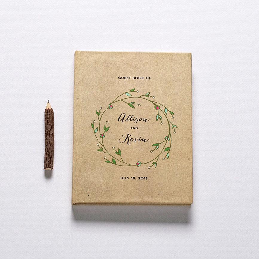 kraft floral wreath guest book