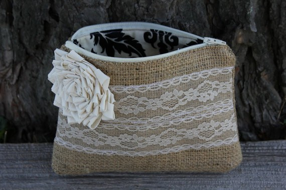 lace and burlap clutch bag