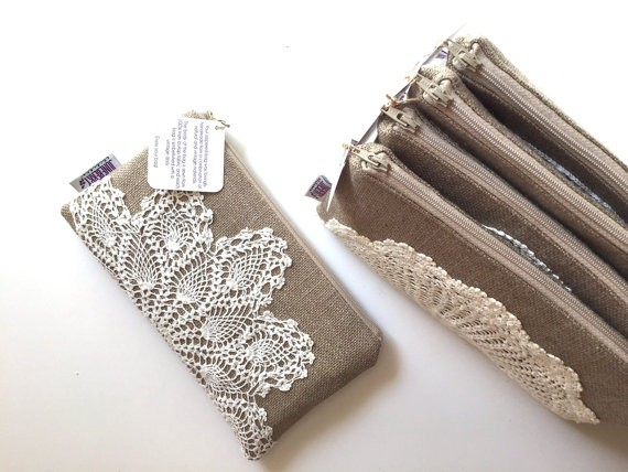 linen clutch doily purse