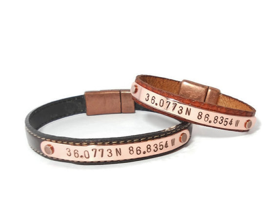 men's latitude longitude bracelets -2 2