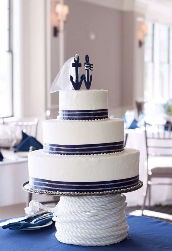 nautical cake topper by nauticalweddings | via 50+ nautical wedding theme ideas at EmmalineBride.com