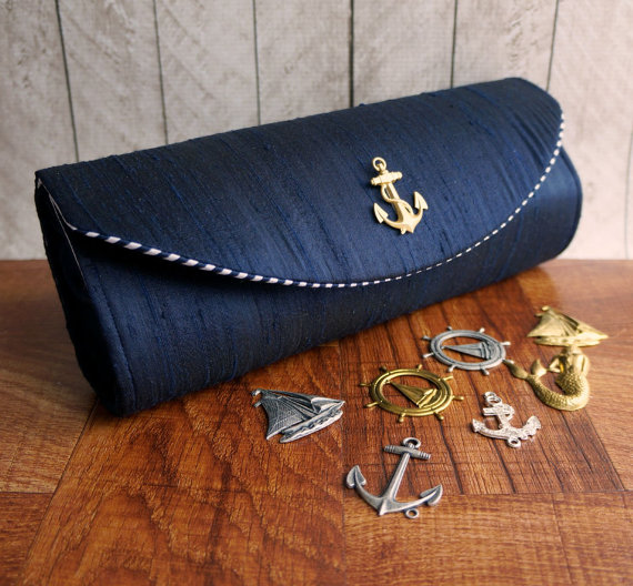 nautical clutch by toriska | via 50+ nautical wedding theme ideas at EmmalineBride.com