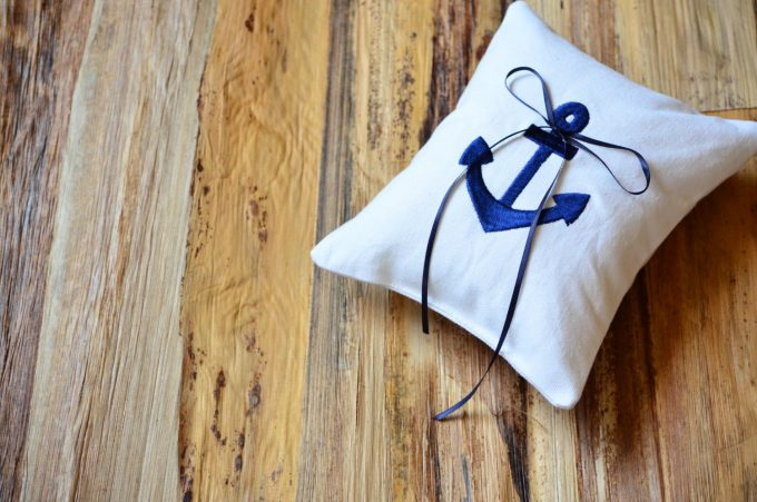 nautical wedding theme ring pillow