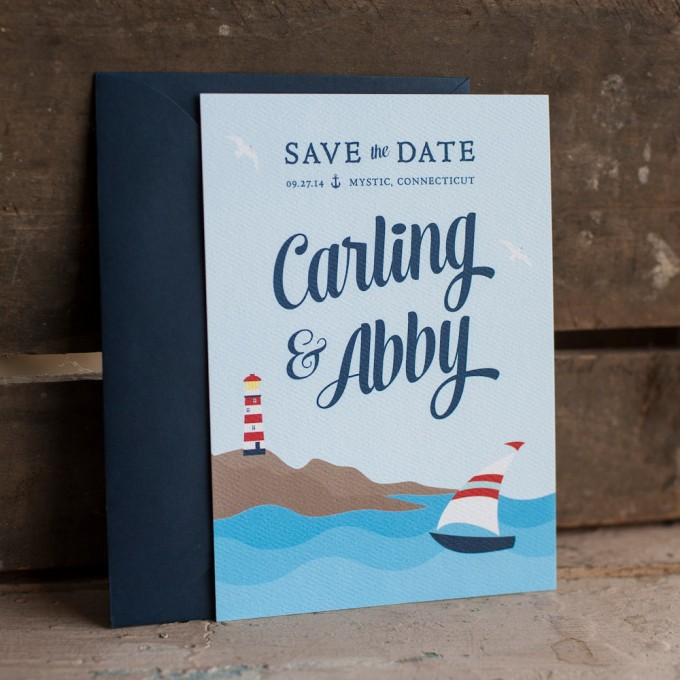 nautical save the date by starboardpress | via 50+ nautical wedding theme ideas at EmmalineBride.com