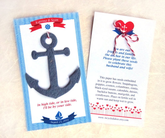 nautical seed favors by recycledideas | via 50+ nautical wedding theme ideas at EmmalineBride.com
