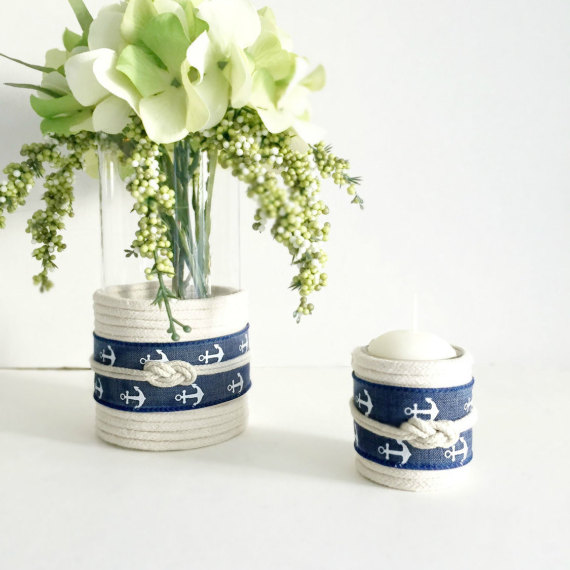 nautical votives by omorfigiadesigns | via 50+ nautical wedding theme ideas at EmmalineBride.com