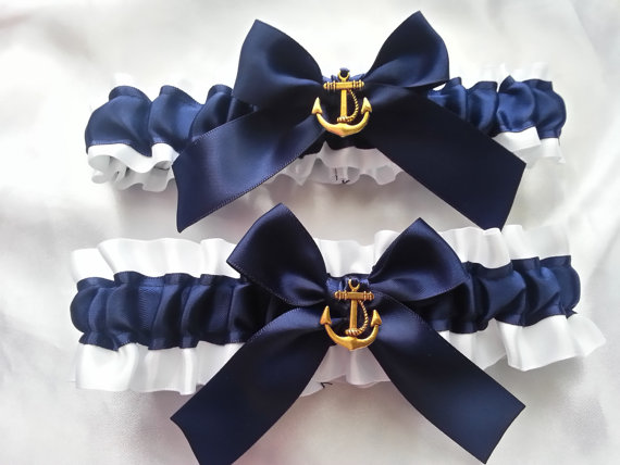 nautical wedding garters by AussieWeddingGarters | via 50+ nautical wedding theme ideas at EmmalineBride.com
