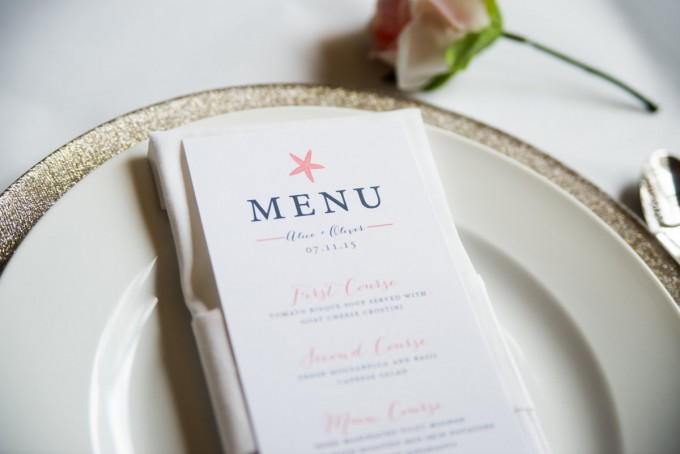 nautical wedding menu by twigandjuniper | via 50+ nautical wedding theme ideas at EmmalineBride.com