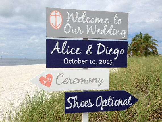 nautical wedding signage by iDecor4you | via 50+ nautical wedding theme ideas at EmmalineBride.com