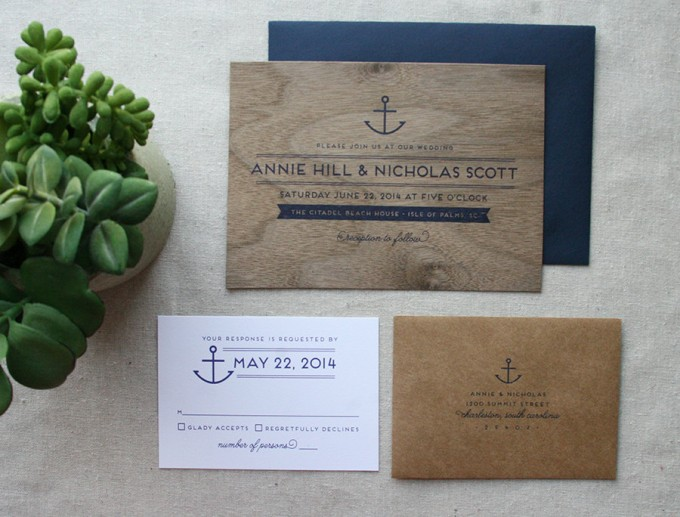 nautical wood wedding invitation by cheer up press | via 50+ nautical wedding theme ideas at EmmalineBride.com