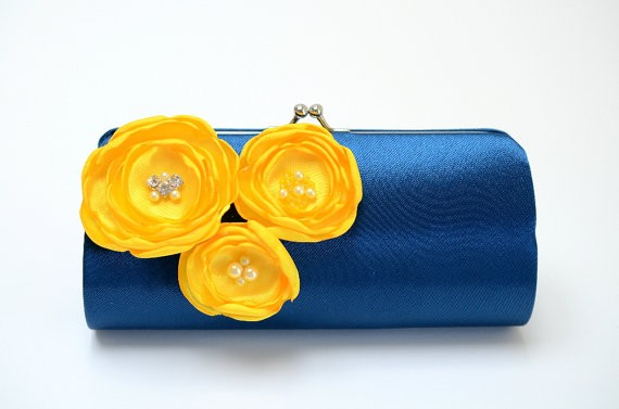navy and yellow clutch by fallensparrow | bridesmaid clutches instead of flowers via http://emmalinebride.com/bridesmaid/clutches-instead-of-flowers/
