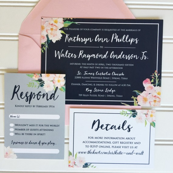 navy blush wedding invitations