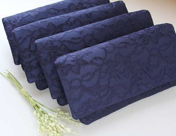 navy lace bridesmaid clutches by goodmarvin