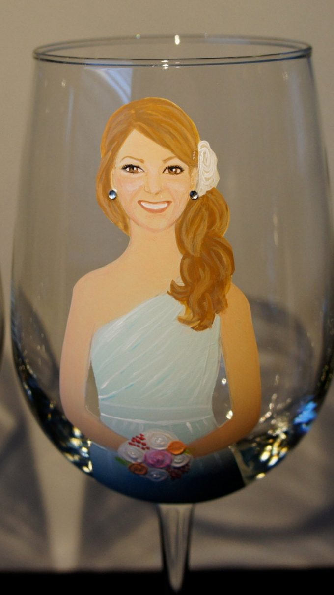 painted bridesmaid glasses