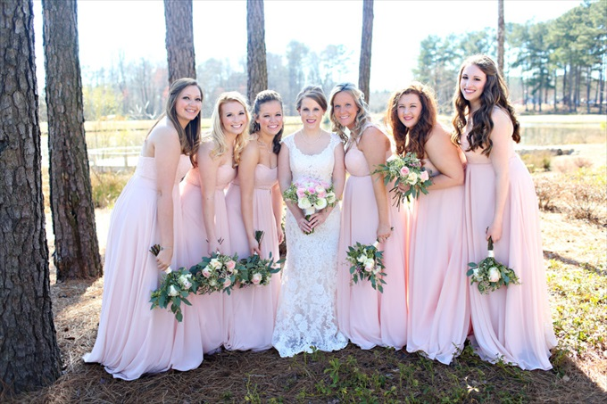 pink bridesmaid dresses woods | Sarah + JJ's Pretty Wedding at 173 Carlyle House | https://www.emmalinebride.com/real-weddings/pretty-wedding-173-carlyle-house/ | photo: Melissa Prosser Photography - Atlanta Georgia Wedding Photographer