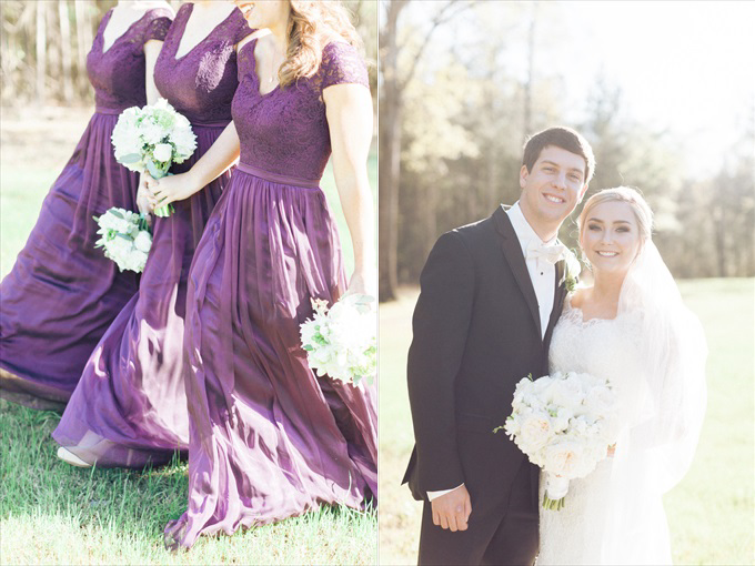 purple bridesmaid dresses bride groom | A Beautiful Sainte Terre Louisiana Wedding(Real Weddings) | http://www.emmalinebride.com/real-weddings/a-beautiful-sainte-terre-wedding-in-louisiana-real-weddings/ | Photo:  Photography by Micahla Wilson